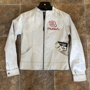 White Leather Race Car Jacket